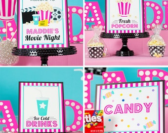 Movie Party Signs - Instant Download Pink Movie Party Signs by Printable Studio