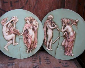 Greek Plaques, Resin Plaques, Mid Century Decor, 1960s Decor, 1960s Plaques, Greek Art, Ancient Greece, Greek Goddess, Greek God, Mythology