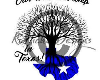 Texas Roots Svg, Family Tree Svg, Texas Svg, Dxf For Cameo, Cricut Download