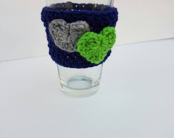 Blue Cozy with Green and Grey Hearts/ Seattle Cozy/ Crocheted Cup Cozy with Crocheted Accessories
