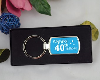 Personalised Any Age Birthday Coloured Keyring Gift