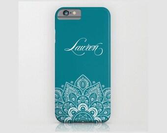 Custom Device case for iPhone / Samsung Galaxy, iPhone 7 /7s, iPhone 6 /6s, Samsung, Galaxy, Phone, Mandala, White, Teal, Custom, Name, Gift