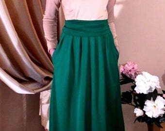 Sand- Green  Maxi Dress Round Neck Long Sleeves Pockets
