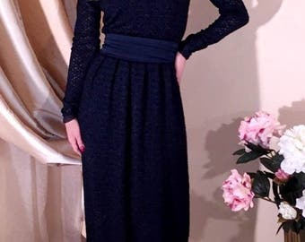 Navy Blue Lace Maxi Dress Long Sleeves