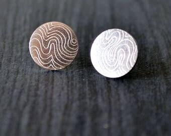 Circle earrings, modern silver studs, original earrings, silver earrings, edgy silver studs, gift for her