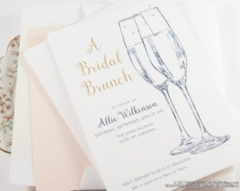 Champagne Glasses Bridal Shower Invitations Hand Drawn (set of 25 cards & envelopes)