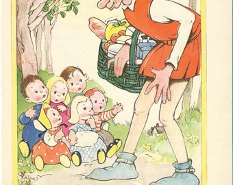 Vintage 1940s Mabel Lucie Attwell Illustration - The Giant
