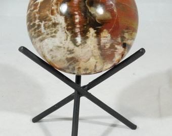 A BIG VERY Colorful Petrified Wood SPHERE Stand Included From Madagascar 752gr