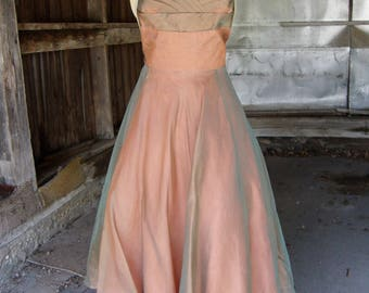 Vintage 1950's Bronze Organza Full Skirt Strapless Party Prom Dress * Small