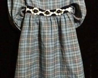 Adorable little girl navy blue plaid 80's vintage dress.