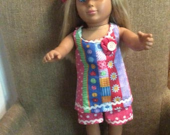 18 inch doll shorts, tunic top and hat