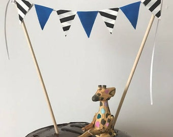 Birthday Cake Topper / Bunting / Fabric Pennant Flags / Baby Shower / Party / Blue and Black and White Striped Flags
