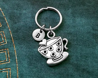 Tea Cup Keychain VERY SMALL Tea Cup Keyring Teacup Keychain Tea Keychain Heart Tea Cup Personalized Keychain Charm Keychain Initial Letter