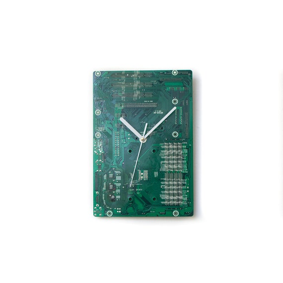 Green Circuit Board Clock with White Clock Hands - Unique Wall Clock - Large Wall Clock - Industrial Clock - Unique Gift - Boyfriend Gift
