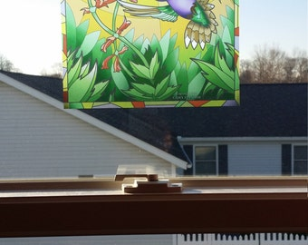 """Hummingbird """"Stained Glass"""" Style WINDOW CLING"""