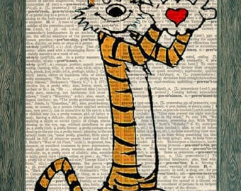 Calvin and Hobbes art print on 8x10 upcycled vintage dictionary page, Calvin and Hobbes print, Calvin and Hobber art, Calvin and Hobbes gift