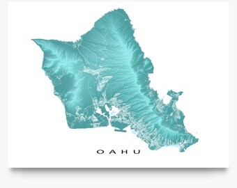 Oahu Map Print, Oahu Art, Oahu Hawaii USA, Honolulu, Waikiki