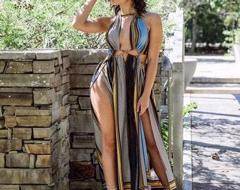 Double Slit Cut Out Maxi Dress