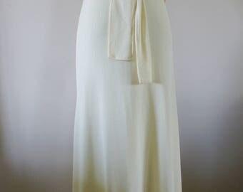 Allegra New York Short Sleeve Slinky Buttery Ivory 1970's Full Length Evening Dress with V Neck Size Small BT-500