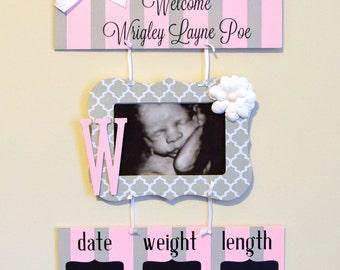 Girl Hospital Door Hanger - Welcome Baby Girl Sign - Pink & Gray Quatrefoil - Hospital Baby Sign - Baby Door Hanger - Nursery Hanger