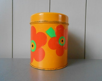 Vintage LAURIDS LONBORG Kitchen Tin Canister Container. Danish design by Al and Lena Eklund. Yellow Orange Retro Mod Flower 1960s 1970s