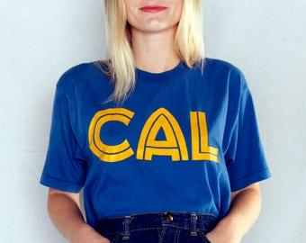 Vintage 80's UCLA Cal Cropped Graphic Tee /UCLA Blue and Gold Tee Shirt
