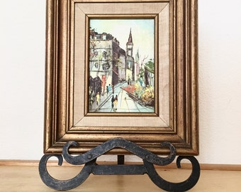 Original Oil Painting / Vintage Framed Fine Art Painting on Stretched Canvas / Street View City Scene Signed by Artist / Home Decor  12x10