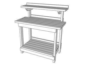 Potting Work Bench    -  wood plans - woodworking - PDF File - blueprint -  pressure treated