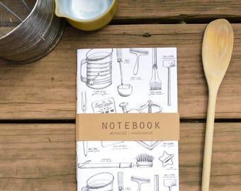 Vintage Kitchen Utensil Pattern Notebook, Journal, Sketchbook, Recipe Book, Diary, Blank Notebook, Stationary, Pen Illustration
