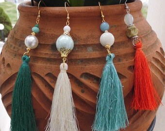Birthday Gift,Tassel earrings,Bohemian earrings,Long earrings,Drop earrings,Wedding jewelry,Bridal earrings Fashion jewelry,Bohemian,For Her