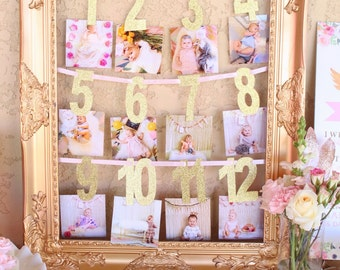 First Year Photo Banner - 1 month to 12 months  l  Baby's First Birthday Banner  l  Gold First Year Photo Banner  l 12 Month Photo Banner