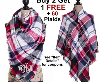 Plaid scarf, gift for her, christmas gift, Blanket Scarf, tartan scarf, oversized scarf, Fall ...