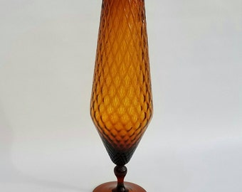 Tall Mid-century Art Glass Vase - Amber Glass- Vintage Glass - Optic Glass