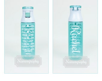 TWO Personalized Water Bottles Inspirational- Motivate Me  Contigo TEAL -Turquoise Green Blue