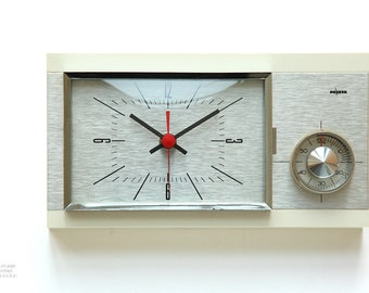 Atomic Space Age PEWETA Wall CLOCK Timer Mid Century Kitchen Germany JUNGHANS Modern cadillac Chrome mcm 50s 60s