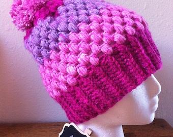 Puff Stitch Hat Pink