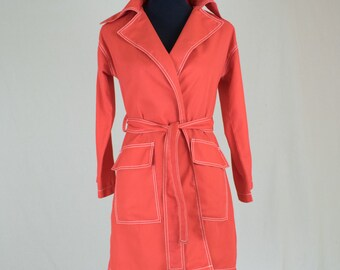 Vintage Red Womens 60s Trench Coat