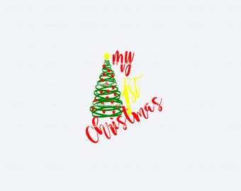 My first christmas svg(svg095), svg files, christmas svg, baby first christmas svg, baby's first svg, holiday svg, baby first holiday svg
