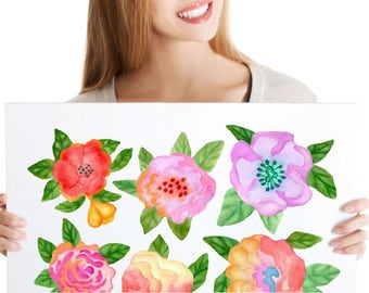 6-Set of Watercolor Tea Rose Decals - Hand-Painted Decorative Tattoos for Bedroom or Nursery - Stickers for Walls, Tiles and Furniture