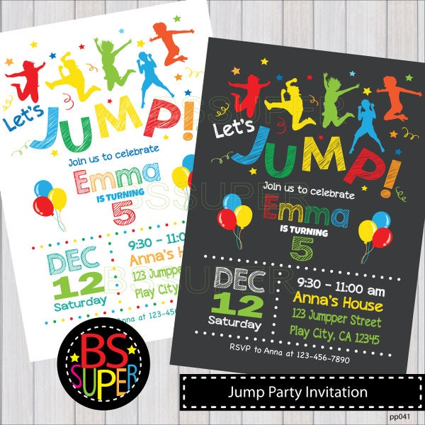 JUMP Invitation JUMP Birthday Invitation Bounce Birthday