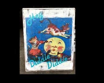 Vintage Nursery Rhyme sign/plaque, Hey diddle diddle, wooden sign, cow jumping over the moon, Baby's room decor, childs room decor