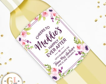 Future Mrs Bridal Wine label, Bridal Shower Bubbly Label, Miss to Mrs Bachelorette Party Champagne Label, Floral Bridal Shower, Hen Party