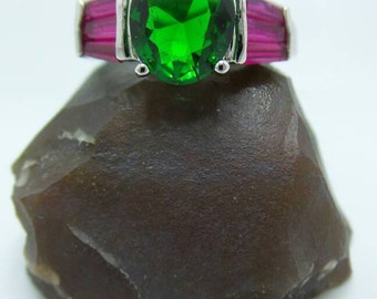 SALE Emerald and Ruby Sterling Silver ring, Size 7.5