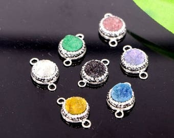 10Pcs Paved Rhinestone Mixed Color Druzy Drusy Stone Connector Beads For Jewelry Making
