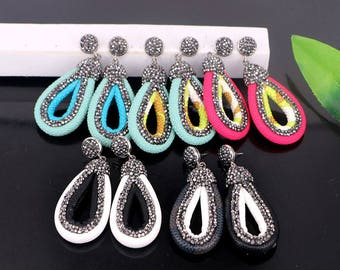 New 4pair Mixed Color Pave Rhinestone Fishskin Earrings Charms Jewelry Finding For Women