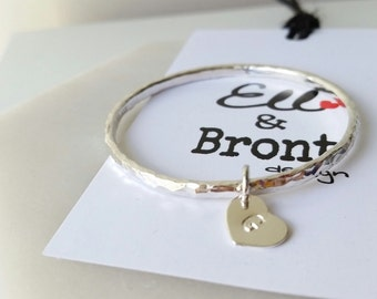 Baby Bracelet, Baby Bangle Sterling Silver, Bangle with initial heart charm.