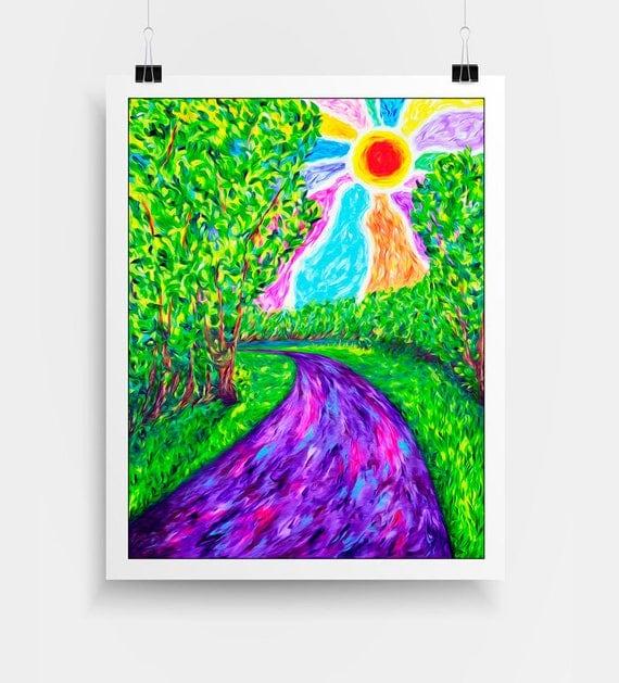 "Visionary Art Print - Hippie Wall Decor, Psychedelic Art, Landscape Wall Art, Rainbow Art, Hippie Dorm Decor, ""Stream of Consciousness""."