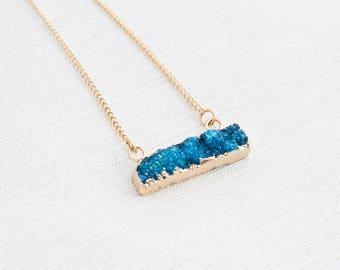 Blue Druzy Bar Neclace, Druzy Necklace, Layering Necklace