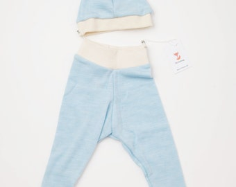 ON SALE - 100% Merino Wool Baby Pants & Hat Gift Set - Light Blue - 0-3m / Newborn gift set / Baby Shower Gift / Hospital Take Home Outfit