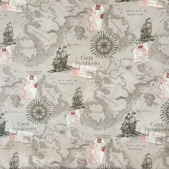 Map fabric by the yard world map fabric vintage map print like this item gumiabroncs Image collections